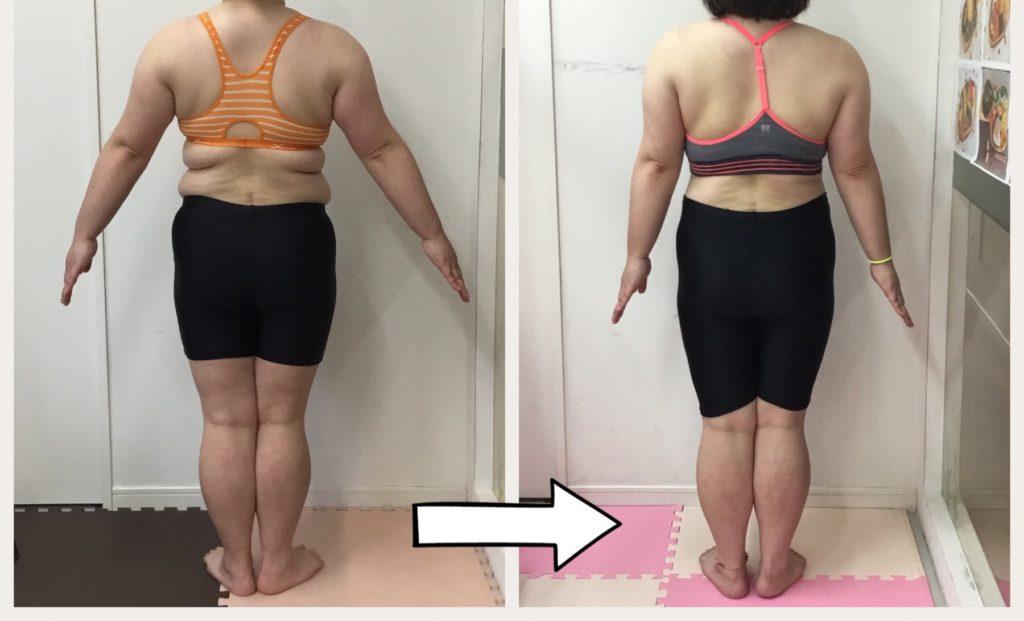 ダイエット成功のビフォーアフター写真。仙台の女性専用パーソナルトレーニングジム、リアル健康式ダイエット