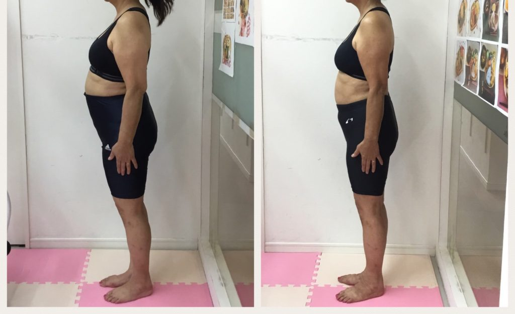 ダイエットのビフォーアフター。女性専用マンツーマントレーニングジム。