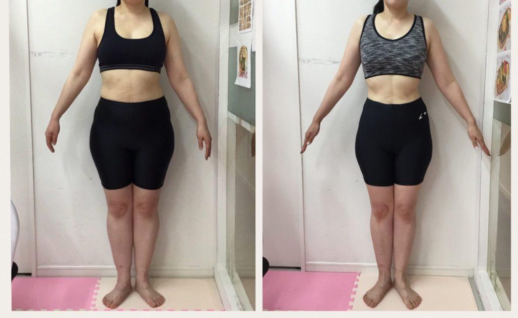 ダイエット成功ビフォーアフター。女性専用パーソナルトレーニングジムはシャンパレスのリアル健康式ダイエット