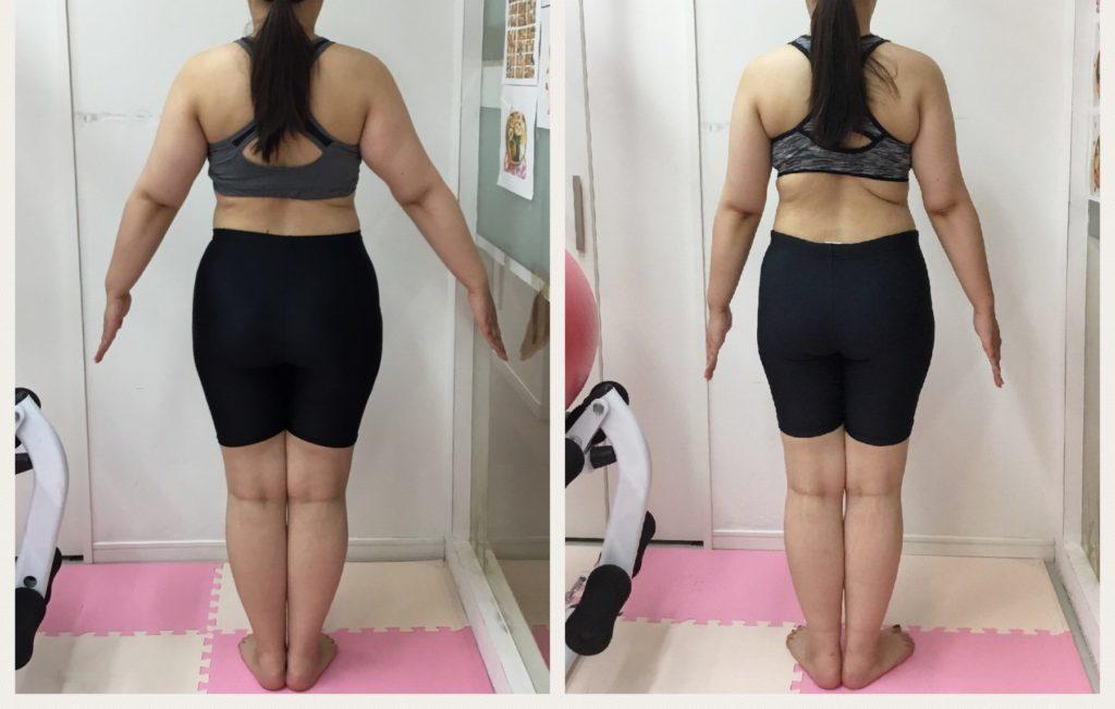 ダイエット成功のビフォーアフター。女性専用パーソナルトレーニングジムはリアル健康式ダイエット